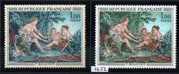 YT N° 1652 - Bleu Au Lieu De Vert + Normal - Neufs ** - Variedades Y Curiosidades