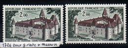 YT N° 1726 - Tour Verte à Gauche + Normal - Neufs ** - Variedades Y Curiosidades