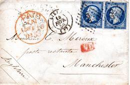2 N° 14 Bleu Sur Lettre En Poste Restante Pour Manchester Angleterre Au Depart De Lille - 1849-1876: Periodo Classico
