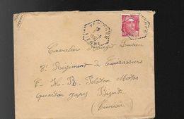 LAC  Cachet Hexagonal Pointillé  De VEZIERES Dans La VIENNE(86)pour Un Militaire Au Régiment De Cuirassier à Bizerte (Tu - Marcophilie (Lettres)