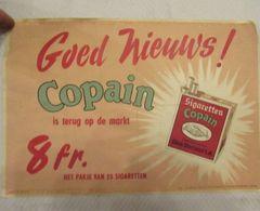 Copain (Cigarettes Belges - Odon Warland) - Affiche Publicitaire Avec Timbre (rarissime) - 320 X 220 Mm - Articoli Pubblicitari