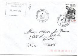 PORC - CHARCUTERIE = 72 MAMERS 1987 =  CACHET TEMPORAIRE Petit Format  ' CONFRERIE Des RILLETTES' - Marcophilie (Lettres)