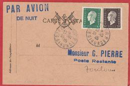 """Marianne De Dulac (1945) N°687 Et 688 (YT) Sur Carte Postale """"Par Avion De Nuit"""" Bordeaux-Toulouse 26/10/1945 - 1944-45 Marianne Van Dulac"""