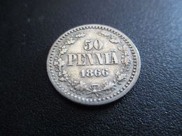 FINLAND 50 PENNIÄ 1866 SILVER RARE ! D-0152 - Finlandia