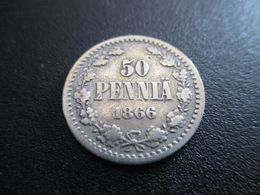 FINLAND 50 PENNIÄ 1866 SILVER RARE ! D-0153 - Finnland