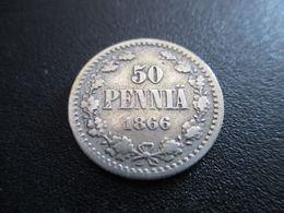 FINLAND 50 PENNIÄ 1866 SILVER RARE ! D-0153 - Finlandia