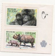 LOT 499 - ALLEMAGNE   N°  2036/2037 ** - GORILLES Et RHINOCEROS ( 2 Val Adh Du Carnet ) Faciale 1.12 € - Gorilla