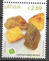 LATVIA, 2020, MNH, UNIQUE EXHIBITS OF LATVIAN MUSEUM OF NATURAL HISTORY, AMBER,1v - Geology