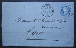 Pont Saint Esprit (Gard) 1874 GC 2954 Sur N°60B Type 2, Lettre Pour Lyon - 1849-1876: Periodo Classico