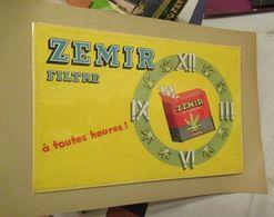 ZEMIR (cigarette Belge) - Projet De Pancarte Publicitaire, Dessin à L'encre Et Peinture - Magnifique - 300 X 200 Mm - Reclame-artikelen