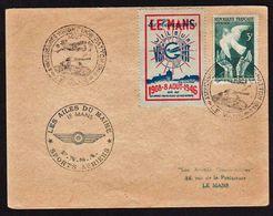 ERINNOPHILIE: Timbre N° 761 + Vignette D'Aviation Le Mans Wilbur Wright Obl. Cachet Illustré Et Temporaire En 1946 - Aviation