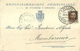 """8441""""AMMINISTRAZIONE PROVINCIALE DI PESARO E URBINO-1933  """"-CARTOLINA POSTALE ORIGINALE SPEDITA 1933 - Vari"""