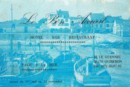Quiberon * Le Bon Accueil Hôtel Bar Restaurant JP LE GUENNEC  * Carte De Visite Ancienne - Quiberon