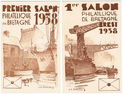 Salon Philatélique De Bretagne / Brest 1938  / Lot De 2 Cartes - Esposizioni Filateliche