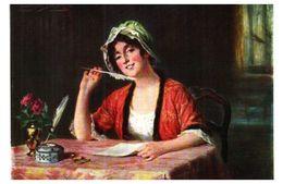 Lapina 5006 - E Deully, Dois-je Le Dire (4 Lignes) Femme Ecriture Plume - Pittura & Quadri