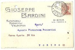 "8445"" GIUSEPPE BARDINI-AUTOMOBILI,MOTOCICLI,VELOCIPEDI-SIENA ""-CARTOLINA POSTALE ORIGINALE SPEDITA 1925 - Handel"