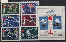 JO72-H14 - BULGARIE N° 1891/96 + BF 35 Neufs** Jeux Olympiques Sapporo 1972 - Bulgaria