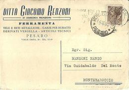 "8450"" DITTA GIACOMO RENZONI-FERRAMENTA-PESARO ""-CARTOLINA POSTALE ORIGINALE SPEDITA 1958 - Autres"