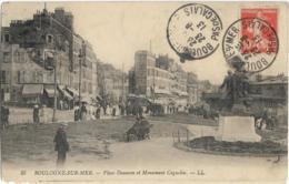 D62 - BOULOGNE SUR MER - PLACE DAUNOM ET MONUMENT COQUELIN - Nombreuses Personnes - Boulogne Sur Mer