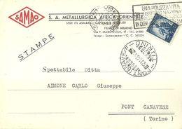 "8456"" SAMAO-S.A. METALLURGICA AFRICA ORIENTALE-ASMARA-FILIALE DI MILANO ""-CARTOLINA POSTALE ORIGINALE SPEDITA 1948 - Otros"