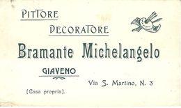 """8459"""" PITTORE DECORATORE BRAMANTE MICHELANGELO-GIAVENO-1907 """" ORIGINALE CON MARCA DA BOLLO - Visiting Cards"""