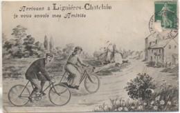 80 Arrivant à LIGNIERES-CHATELAIN  Le Vous Envoie Mes Amitiés - Autres Communes