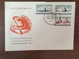 ALLEMAGNE 1961 CHAMPIONNATS DU MONDE DE SLALOM EN CANOË ET DE COURSE EN EAUX VIVES WELTMEISTERSCHAFTEN KANU-SLALOM - Lettres & Documents