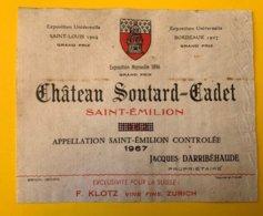 15281 - Château Soutard-Cadet 1967 Saint-Emilion Millésime D'origine 1962 Barré - Bordeaux