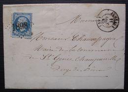 Auzat Sur Allier 1865 , Lettre Du Maire Pour Le Maire De Saint-Gènes-Champanelle  Cad Jumeaux GC 1898 - Marcophilie (Lettres)