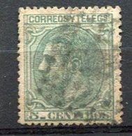 Yv. 1879 N°  184  (o)  5c  Vert  AlphonseXII   Cote  1,2  Euro  BE    2 Scans - Usados