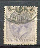 Yv. 1879 N°  195  (o)  75c  Violet  AlphonseXII   Cote  7  Euro  BE   2 Scans - Usados