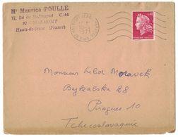 JB15   France Marianne Cheffer  0.40C  Sur Lettre Malakoff Pour Prague Tchécoslovaquie 1971 - 1967-70 Maríanne De Cheffer