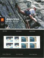 Norway 2001 Recreation Whitewater Kayak And Rock Climbing, Mi 1383-1384 In Blocs Of Four, MNH(**)  In Folder - Norwegen