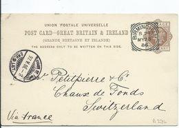 Great Britain Victoria Prepaid Postcard Birmingham S74 1886 Squared Circle - 1840-1901 (Victoria)
