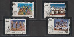 Inde 1991 Danses Tribales 1096-99 4 Val ** MNH - Inde