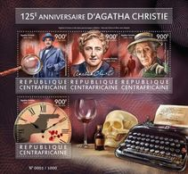 C A R - 2015 - Agatha Christie, 125th Birth Anniv - Perf 4v Sheet - M N H - Zentralafrik. Republik