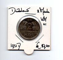 DUITSLAND 2 MARK 1951D - [ 7] 1949-… : RFA - Rep. Fed. Alemana