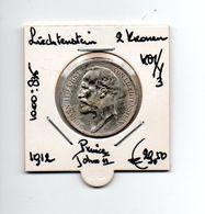 LIECHTENSTEIN 2 KRONEN 1912 ZILVER PRINCE JOHN II - Liechtenstein
