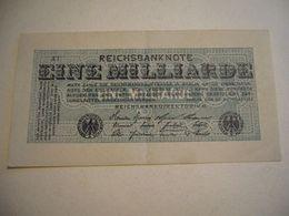 1923  EINE MILLIARDE   REICHSBANKNOTE - [ 3] 1918-1933 : Repubblica  Di Weimar