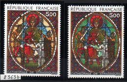 YT N° 2363b - Vitrail Jaune Au Lieu De Vert Signé Calves Avec Certificat + Normal - Neufs ** - Cote: 500,00 € - Varieteiten: 1980-89 Postfris