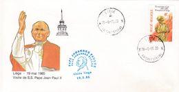 Enveloppe 1987 Visite Au Communauté Européen S.S. Pape Jean-Paul II Oblitération Visite Liège - Belgium