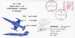 Enveloppe 1584 Aviation F-104 Kleine Brogel Koksijde Peer - Belgium