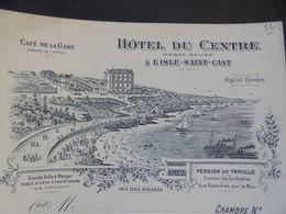 FACTURETTE  VIERGE - 22 - CÔTE D'ARMOR - L'ISLE ST CAST : HOTEL DU CENTRE, MAISON MENIER, CAFE DE LA GARE - France