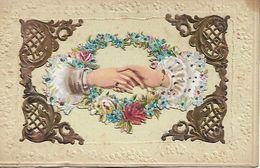 L100G296 - Carte Découpis - Mains Qui Se Rejoignent Et Fleurs - Carte Italienne - - Mechanical
