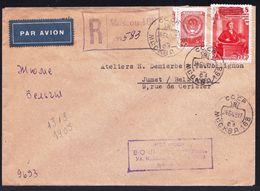 LETTRE RECOMMANDEE 1949 MOSCOU 168 RUSSIE > JUMET BELGIQUE - Yvert 1313-1405 + Tampons + écriture - 1923-1991 USSR
