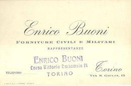 """8461"""" ENRICO BUONI-FORNITURE CIVILI E MILITARI-RAPPRESENTANZE-TORINO """" ORIGINALE - Visiting Cards"""