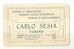 """8462"""" CARLO SESIA-IMPIANTI A TERMOSIFONE-FABBRICA CUCINE ECONOMICHE-IMPIANTI DI RISCALDAMENTO-TORINO """" ORIGINALE - Visiting Cards"""