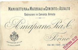 """8463"""" AMAPANE PIA & C.-MANIFATTURA DI MATERIALI IN CEMENTO E ASFALTI-COSTRUZIONI IN CEMENTO ARMATO-TORINO """" ORIGINALE - Visiting Cards"""