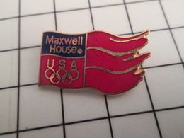 516c Pin's Pins / Rare & Belle Qualité !!! THEME JEUX OLYMPIQUES / DRAPEAU USA MAXWELL HOUSE - Jeux Olympiques
