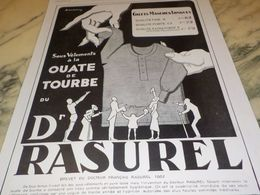 ANCIENNE  PUBLICITE SOUS VETEMENT DU DOCTEUR RASUREL 1928 - Vintage Clothes & Linen